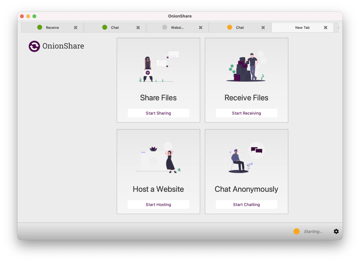 onionshare features
